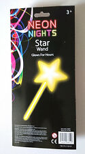 YELLOW STAR FAIRY GLOW WAND Party Costume Accessory NEON NIGHTS Glows Hours SNAP