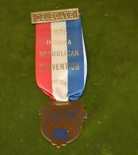 Indiana Republican State convention delegate ribbon metal badge bicentennial