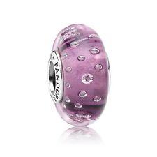 Genuine PANDORA Silver Murano Glass bead S925 ALE Purple Fizzle Charm - 791616CZ