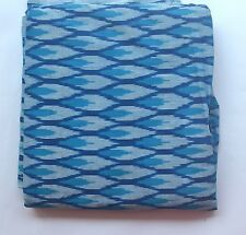 Cotton handwoven Ikat fabric - Blue and white design 3