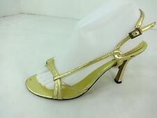 NINE WEST WOMENS GOLD LEATHER STRAPPY EVENING HEELS SHOES SIZE US 8M