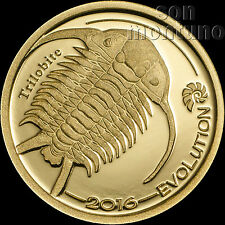 2016 Mongolia - EVOLUTION SERIES - Trilobite - 1/2 gram PURE 24K GOLD COIN .9999