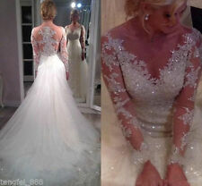 2016 Mermaid Tulle Lace Sheer Long Sleeve V Neck Wedding Dresses Bridal Gowns