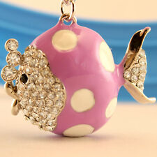 Purple Pulka Dot Fish Crystal Keyring Charm Purse Ring Chain Keychain Gift 01036