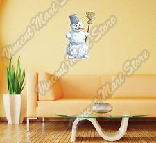 "Snowman Broom Carrot Christmas Fun Besom Wall Sticker Room Interior Decor 16X25"""