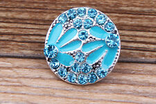 NEW Skyblue Rhinestone flower Charm Chunk Snap Button fit for Noosa Bracelet E91