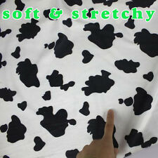 Stretchy short pile faux fur fabric Cow print  cow pattern fabric  cushion BTY