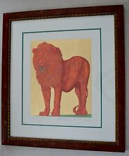 GUILLAUME AZOULAY ORIGINAL PAINTING LE LION 1 OF A KIND HAND LAID GOLD LEAFING
