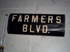 VINTAGE NYC BUS ROLL SIGN FARMERS BLVD 1956 COPPER BACK COLLECTIBLE URBAN ART NY