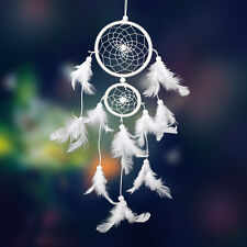 Dream Catcher 2 Circulars Beads White Feathers Hanging Decoration Decor Craft
