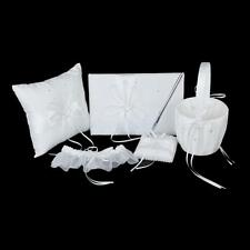 Ivory Wedding Double Heart Set Guest Book Pen Ring Pillow Basket Garter
