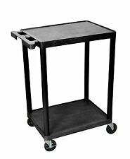 LUXOR HE32-B Utility Cart With Swivel Casters, 2 Shelves, Black New