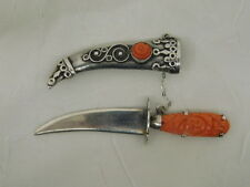 CARVED CORAL STERLING KNIFE PIN SCABBARD SCIMITAR BROOCH VINTAGE STUNNING RARE