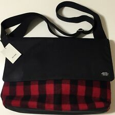 NWT JACK SPADE Men's BUFFALO CHECK RED/BLACK WOOL BLEND COMPUTER FIELD BAG