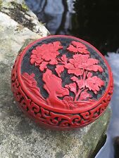 Vintage Chinese Hand Carved Red Cinnabar Round Box Peony Flower Lidded
