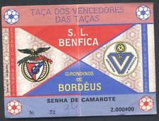 Ticket - SL Benfica - Gir Bordeaux - Winners Cup 1986/87
