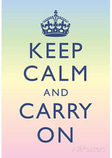 Keep Calm and Carry On Motivational Rainbow Art Print Poster Poster, 13x19