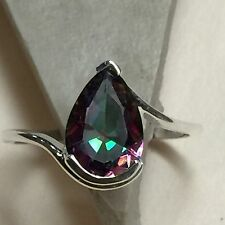 Beautiful 2ct Mystic Topaz 925 Solid Sterling Silver Solitaire Pear Ring sz 7
