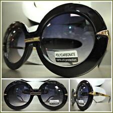 OVERSIZE VINTAGE RETRO Style SUN GLASSES SHADES Round Black & Gold Fashion Frame
