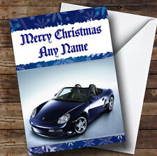 Blue Porsche Boxter Personalised Christmas Greetings Card