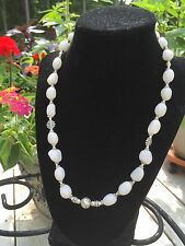 Beautiful White Agate Silver Beaded Necklace With Earrings. NEW!!!! 20""