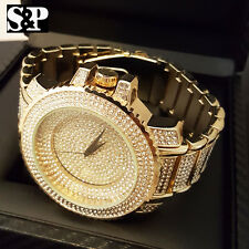 Men Full Iced Out Bling Big Face Hip Hop Lab Simulated Diamond Rapper Watch