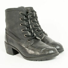 VINTAGE FAUX LEATHER ANKLE BOOTS BLOCK HEEL SHEARLING LINED SHOES UK 7.5 EU 41