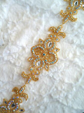 XR75 Gold Beaded Crystal AB Aurora Borealis Rhinestone Craft Bridal Trim 34""