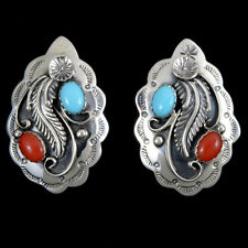 Scalloped Turquoise Coral Earrings Navajo Post Style
