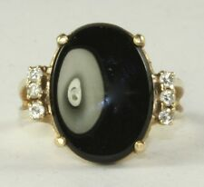 1970'S VINTGE 14K GOLD OVAL BLACK ONYX DIAMOND RING 5 GRAMS