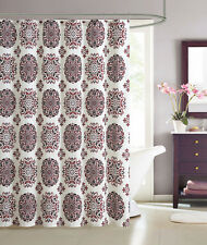 Red Brown Beige Cream Medallion Fabric Shower Curtain by Victoria Classics