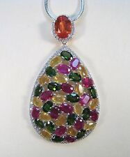LADIES 30.85 CTW SAPPHIRE, RUBY & CHROME DIOPSIDE NECKLACE 925 STERLING SILVER