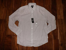 NWT Mens CALVIN KLEIN White Black Stripe Lifestyle L/S Dress Shirt L Large