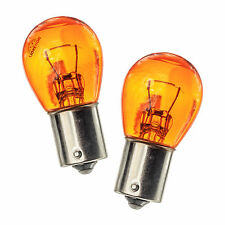 2x BAU15S PY21W 581 Left Right Indicator Turn Signal Light Amber Glass Bulbs