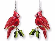Zarah Zarlite CARDINAL EARRINGS Silver Plated Enamel Christmas Bird - Gift Boxed