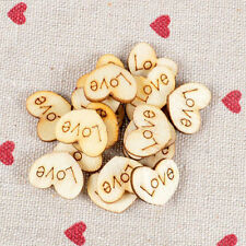 100pcs Wooden Wood Love Heart Charms Pieces Weddings Buttons Findings 12x15mm