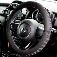 Grey & Black Foam Steering Wheel Cover/Glove Soft/Padded Car/Van Universal Fit