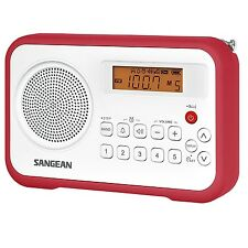 Sangean FM-Stereo/AM Digital Tuning Portable Receiver FM Radio Red PR-D18RD New