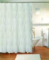 """Gypsy Ruffled Shower Curtain White 70"""" wide x 72"""" long, New, Free Shipping"""