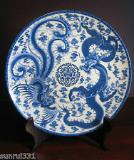 Old Chinese jingdezhen Blue and white Porcelain Plates Painted Dragon phoenix `
