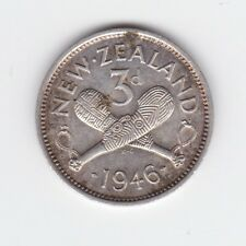 1946 3P Threepence Silver New Zealand NZ Coin  J-832