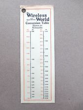 Vintage BOOKMARK WIRELESS WORLD Magazine Journal Conversion Table Radio OLD