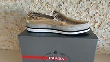 $595 NEW PRADA WOMENS GOLD METALLIC SLIP ON SNEAKER SHOE US 9 EU 39