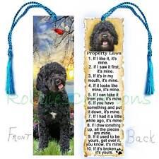 Black POODLE DOG Large BOOKMARK Tassel Labradoodle Property RULES Book Art CARD