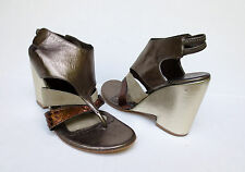 VERONIQUE BRANQUINHO Metallic Wedge Thong Sandal Shoes 35.5 NEW