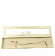 Catholic sterling silver 925 one decade rosary beads bracelet and cross box gift