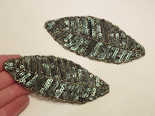 leaf patches sequin applique patch motif sew on trim craft  sewing UK
