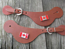 Brown Leather Spur Straps Canadian flag concho ornament