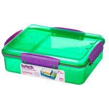 Sistema 975ml Multi Compartment Snack Attack Duo Lunch Box Container Green