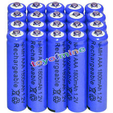 20x AAA battery batteries Bulk Nickel Hydride Rechargeable NI-MH 1800mAh 1.2V Bl